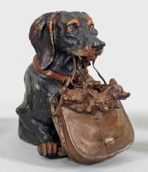 Dachshund with Fox cubs as an ink vessel
