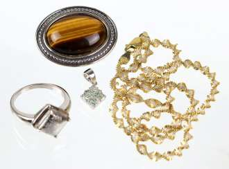 Silver necklace - yellow gold, 585 gold-plated, among other things,