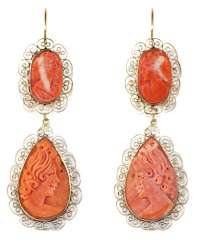 Coral gems earrings.
