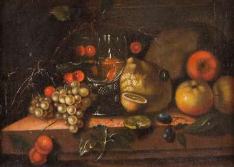 STILL-LIFE WITH CHERRIES, GRAPES, POMEGRANATE, APPLES, LEMONS, AND WINE GLASS