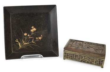 Lacquer tray with floral decoration and metal lid
