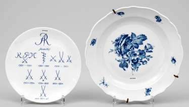 Two blue and white wall plates