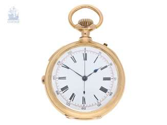 Pocket watch: splendidly decorated, heavy gold pocket watch with Repetition and Chronograph, Montandon Geneve No. 17895, CA. 1890