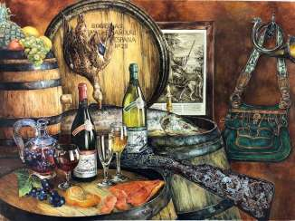 German Artists: Delicate Watercolor. Hunting a meal still-life with duck and wine.