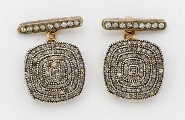 Pair of Russian diamond-trimmed cufflinks