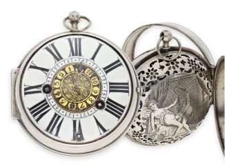 Pocket watch: extremely rare, einzeigrige Oignon with Alarm and concealed erotic scene, a major French watchmaker, Claude Raillard à Paris, recorded from 1676-1692