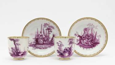 Two cups with saucers, Meissen, mid-18th century