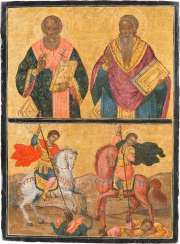 LARGE TWO FIELDS ICON WITH THE TWO CHURCH FATHERS AND THE SAINTS GEORGE AND DEMETRIUS