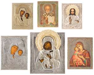 SIX ICONS WITH OKLAD CHRIST PANTOKRATOR, AND MIRACULOUS IMAGES OF THE MOTHER OF GOD