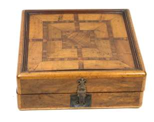 large inlaid wood game box 19. Century