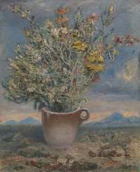 Vase of Flowers in a Landscape