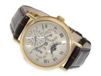 Watch: extremely rare and extremely high-quality astronomical Breguet wrist watch with minute repeater and perpetual calendar, Ref.