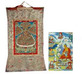 Large thangka of the refuge tree of Gelugpa school with founder Tsongkhapa