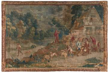 Tapestry with elegant hunting party before an Inn