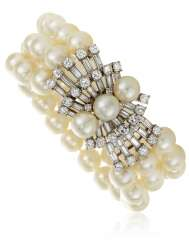 MARIANNE OSTIER CULTURED PEARL AND DIAMOND BRACELET