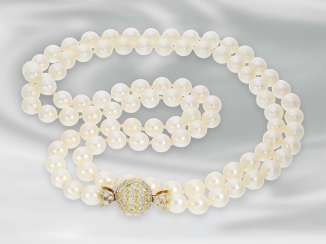 Chain/necklace: long pearl chain Breeding close with a Golden yellow Ball, rich in brilliant-studded, approximately 2.8 ct, 18K Gold