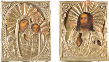PAIR OF WEDDING ICONS WITH OKLAD: THE MOTHER OF GOD OF KAZAN AND CHRIST PANTOCRATOR