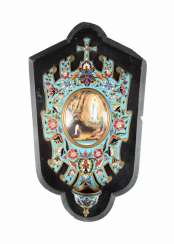 HOLY WATER BOWL WITH A REPRESENTATION OF THE MOTHER OF GOD OF LOURDES