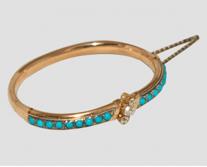 Bracelet with turquoise and diamonds