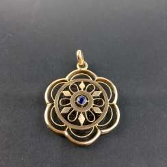 Art Nouveau necklace / art Nouveau pendant: yellow gold 333 studded with sapphire, open-worked, very nice.