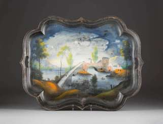 LARGE TRAY WITH DEPICTION OF THE LANDSCAPE