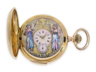 Pocket watch: very fine Swiss gold savonnette with repeater and automaton Jacquemart, CA. 1900
