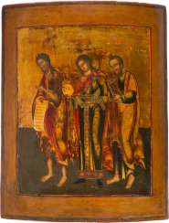 LARGE-FORMAT ICON WITH JOHN THE BAPTIST, THE ARCHANGEL GABRIEL AND THE APOSTLE PAUL