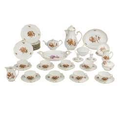 LUDWIGSBURG tea or coffee service for 8 people 'Brown Rose', 20. Century