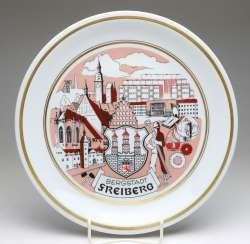 Souvenir Plate Mountain City Of Freiberg
