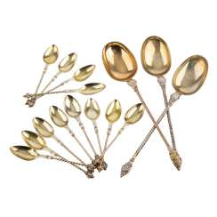 Mixed lot of 12 lötige, gold-plated silver spoons, 19th century. Century.
