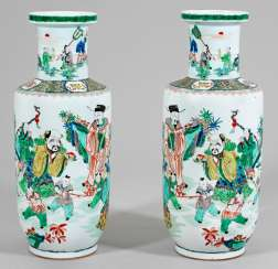Pair of large Famille verte-Rouleau vases