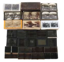 Comprehensive collection of Stereodias and cards in varying sizes of cardboard cards, and glass Slides