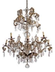 A LARGE ITALIAN CUT-GLASS AND GILT-IRON EIGHT-LIGHT CHANDELIER