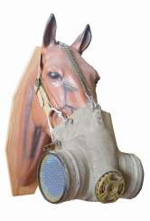 Soviet Union: horse gas mask. Linen-like cloth