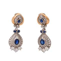 Pair of earrings with sapphires and brilliants,