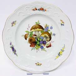 Institutional / Wall Is Adorned With Plates: Meissen Porcelain. Mushroom and fruit painting. Relief. Gold, very good.