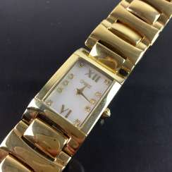 CHRISTIAN: ladies wrist watch, mother of pearl dial!, Mineral glass, stainless steel case & Band diamonds gold plated, mint