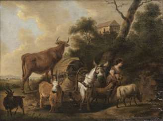 Shepherdess with pack animals and herd