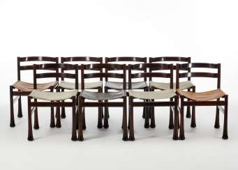 Eight chairs with solid mahogany wood structure