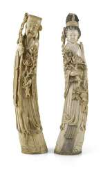 TWO LARGE IVORY FIGURES,