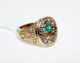 A ring with an emerald