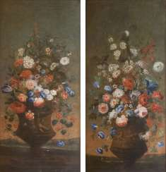 Pair of counterparts: bouquets in vases