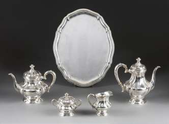 FOUR-PIECE TEA AND COFFEE SERVICE ON TRAY