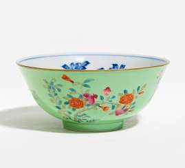 LIME GREEN BOWL WITH FLOWERS OF THE FOUR SEASONS