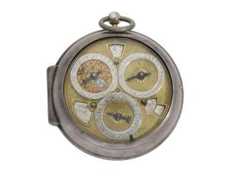 Pocket watch: important, highly complicated einzeigrige astronomical Spindeluhr with 8 astronomical complications, Torin London, CA. 1690