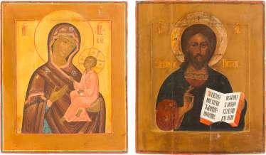 TWO ICONS OF CHRIST PANTOKRATOR AND MOTHER OF GOD OF TIKHVIN (TICHWINSKAJA)