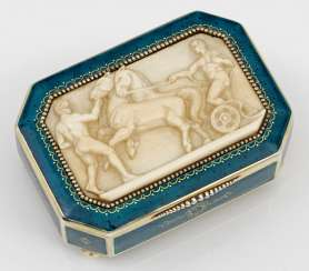 Art Deco lidded box with ivory relief