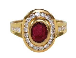 Brillant Rubin Ring 750 Yellow Gold.