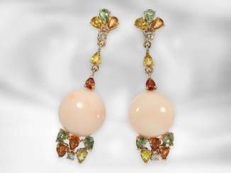 Earrings: mint earrings with angel skin coral, diamond and colored stones, 14K yellow gold, gold, wrought by hand