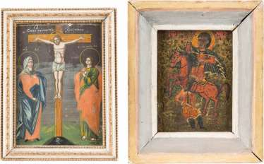 TWO SMALL ICONS WITH THE CRUCIFIXION OF CHRIST, AND THE HOLY DEMETRIUS